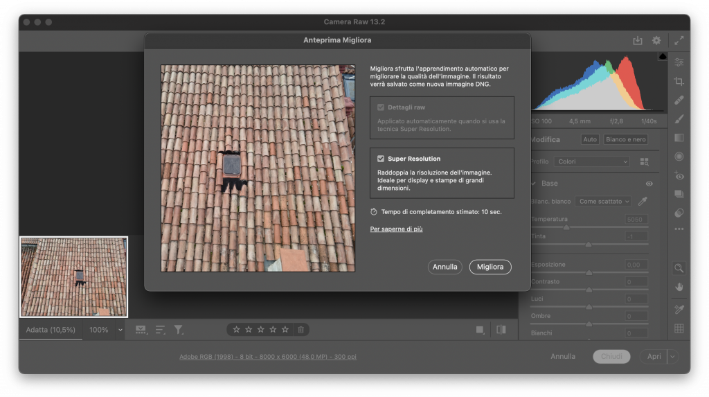 photoshop super risoluzione camera raw
